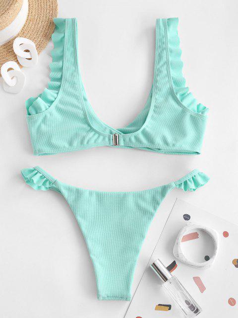 ZAFUL Costume da Bagno Bikini a Incrocio con Fiocco - Celeste S Mobile