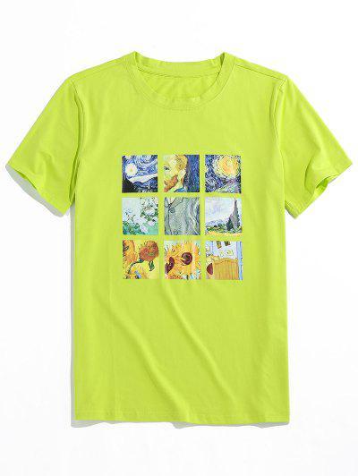 ZAFUL Graphic Painting Print T-shirt - Green M