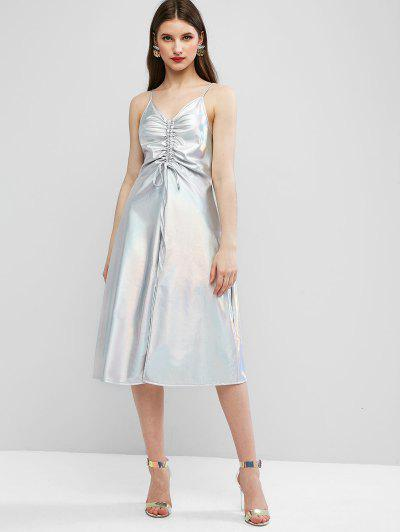 ZAFUL Sparkle Shiny Cinched Front Slit Cami Dress - Silver L