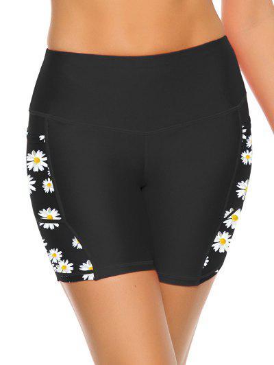 Mesh Panel Daisy Print Sports Biker Shorts - Black S