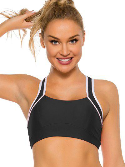 Cut Out Mesh Panel Daisy Print Sports Bra - Black S