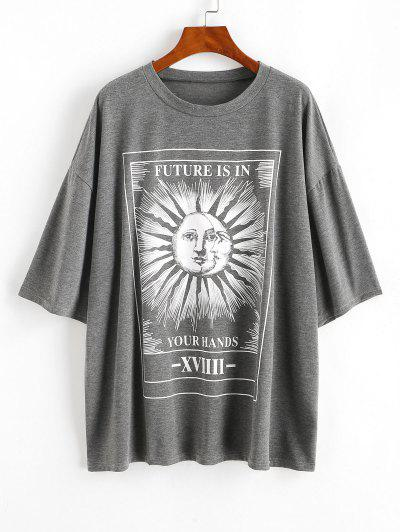 Sun And Moon Letter Print Oversized Tee - Gray L