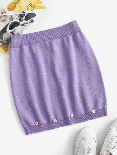 Flower Knitted Mini Bodycon Skirt - Purple S