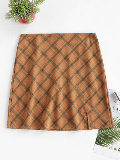 Plaid Slit A Line Skirt - Orange M