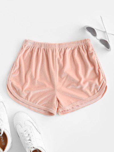 Velvet Plain Pull On Shorts - Light Pink