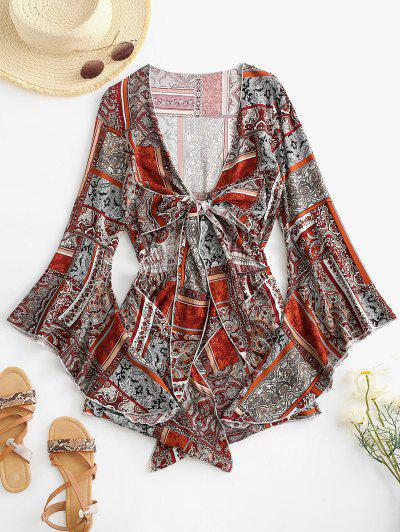 Printed Cut Out Tie Front Flare Sleeve Romper - Deep Red M