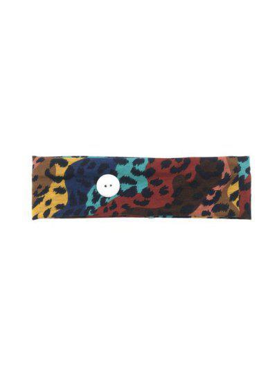 Leopard Cotton Button Sports Sweat Headband - Multi-a