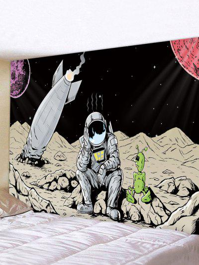 Outer Space Astronaut Rocket Print Decorative Wall Tapestry - Multi W59 X L51 Polegadas