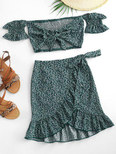 Ditsy Print Ruffle Off Shoulder Two Piece Dress - Green S