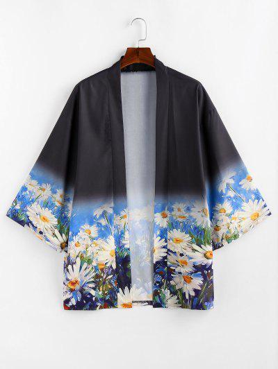 Gradient Daisy Print Open Front Kimono Cardigan - Black Xl