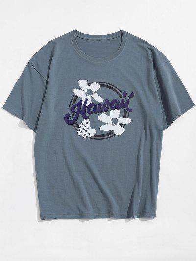 T-shirt De Base Graphique Fleur Hawaï - Bleu 2xl