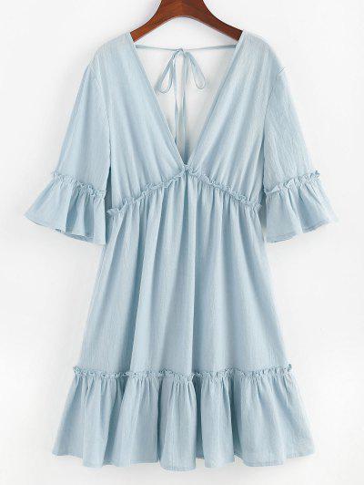 ZAFUL Bell Sleeve Ruffle Plunging Dress - Light Blue M