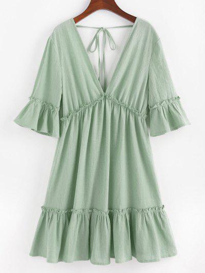ZAFUL Bell Sleeve Ruffle Plunging Dress - Light Green M