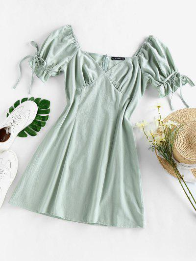 ZAFUL Puff Sleeve Ruffle Bowknot Mini Dress - Light Green S