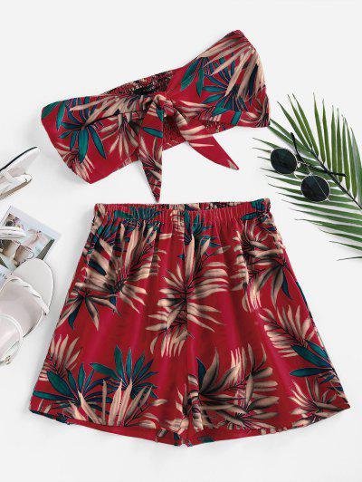ZAFUL Palm Print Strapless Tie Front Two Piece Set - Red L