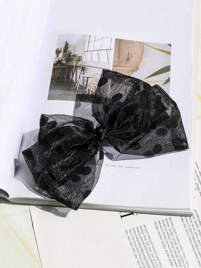 Dot Print Mesh Hair Clip - Black