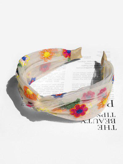 Floral Embroidery Mesh Knotted Headband - White