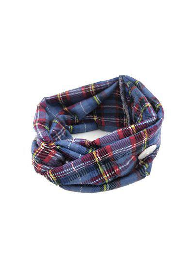 Cross Yoga Button Plaid Headband - Blue