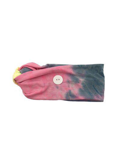 Cross Elastic Button Watercolor Headband - Pink Pink Blue