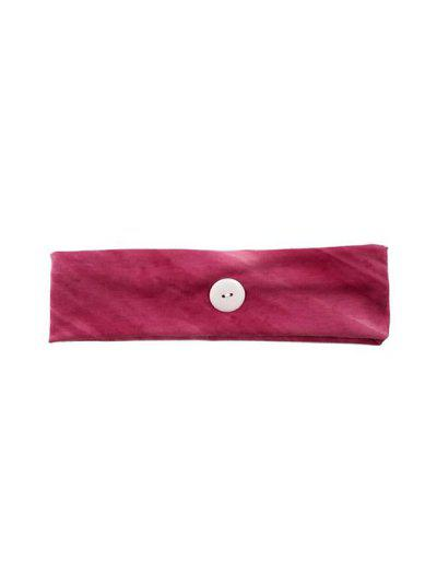 Cotton Button Wide Elastic Sports Headband - Rose Red