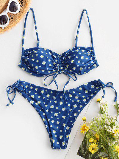 ZAFUL Ditsy Floral Cinched Tie Bikini Swimwear - Blue L