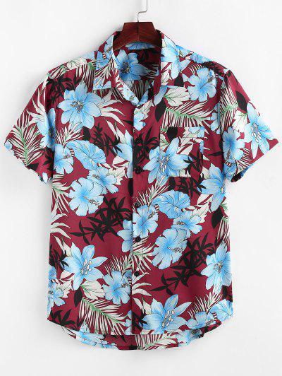 ZAFUL Camisa De Vacaciones Con Bolsillo Y Estampado De Plantas - Vino Tinto 2xl