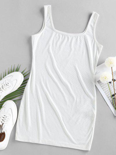 ZAFUL U Neck Mini Bodycon Dress - White S