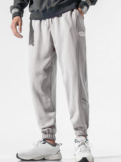Drawstring PU Leather Label Design Sweatpants - Light Gray 2xl