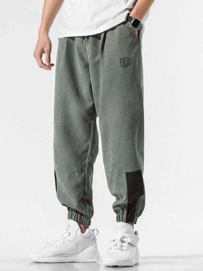 Drawstring Color Spliced Letter Pattern Jogger Pants - Dark Gray M