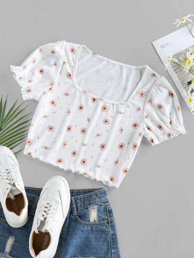 ZAFUL Square Collar Daisy Print Crop Tee - White L