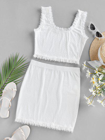 ZAFUL Vestido De Duas Peças Mini Guarnição Com Nervuras E Vestido - Branco M