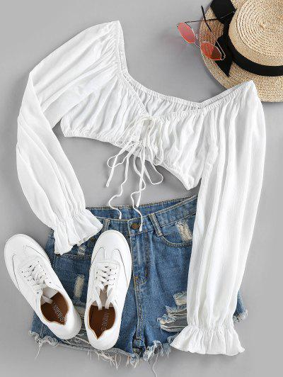 ZAFUL Tie Front Poet Sleeve Crop Blouse - White M