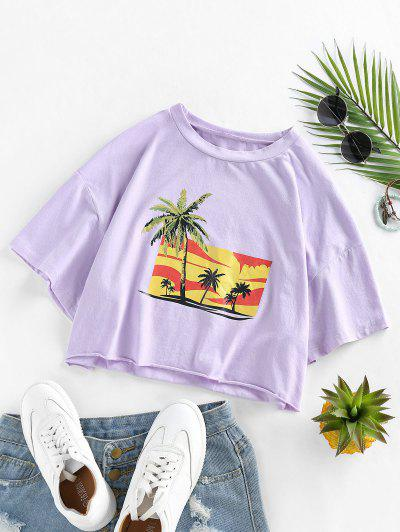 ZAFUL Palm Tree Print Frayed Tee - Mauve S