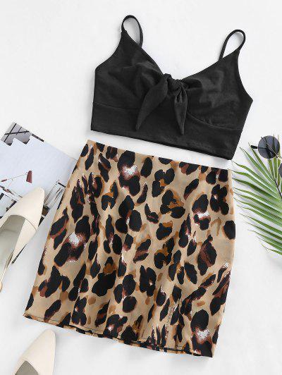 ZAFUL Zweiteiliges Kleid Mit Leopardenmuster Und Bindevorderseite - Schwarz M