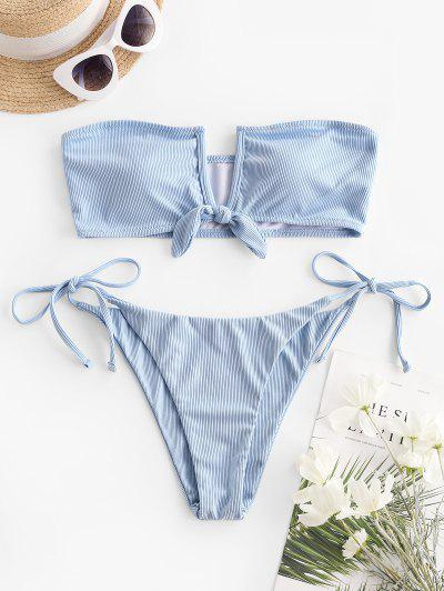 ZAFUL Tied Ribbed V Wired Bandeau Bikini Swimwear - Light Sky Blue S