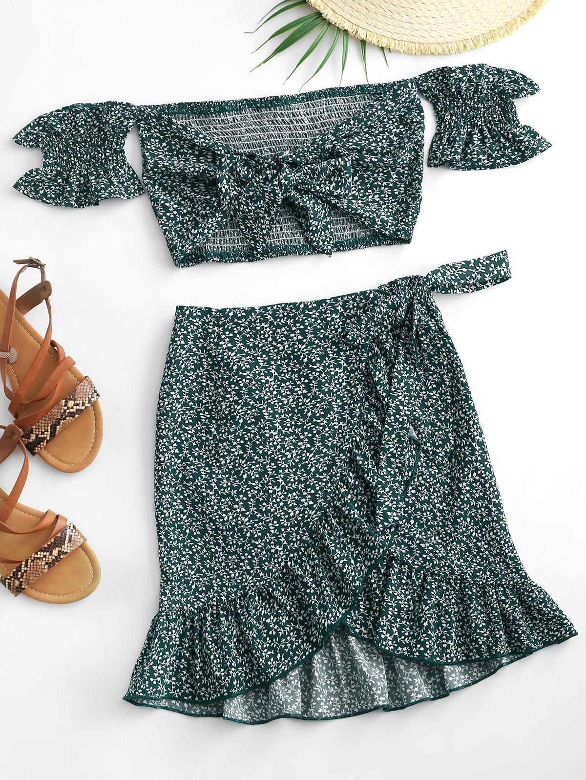 Ditsy Print Ruffle Off Shoulder Two Piece Dress