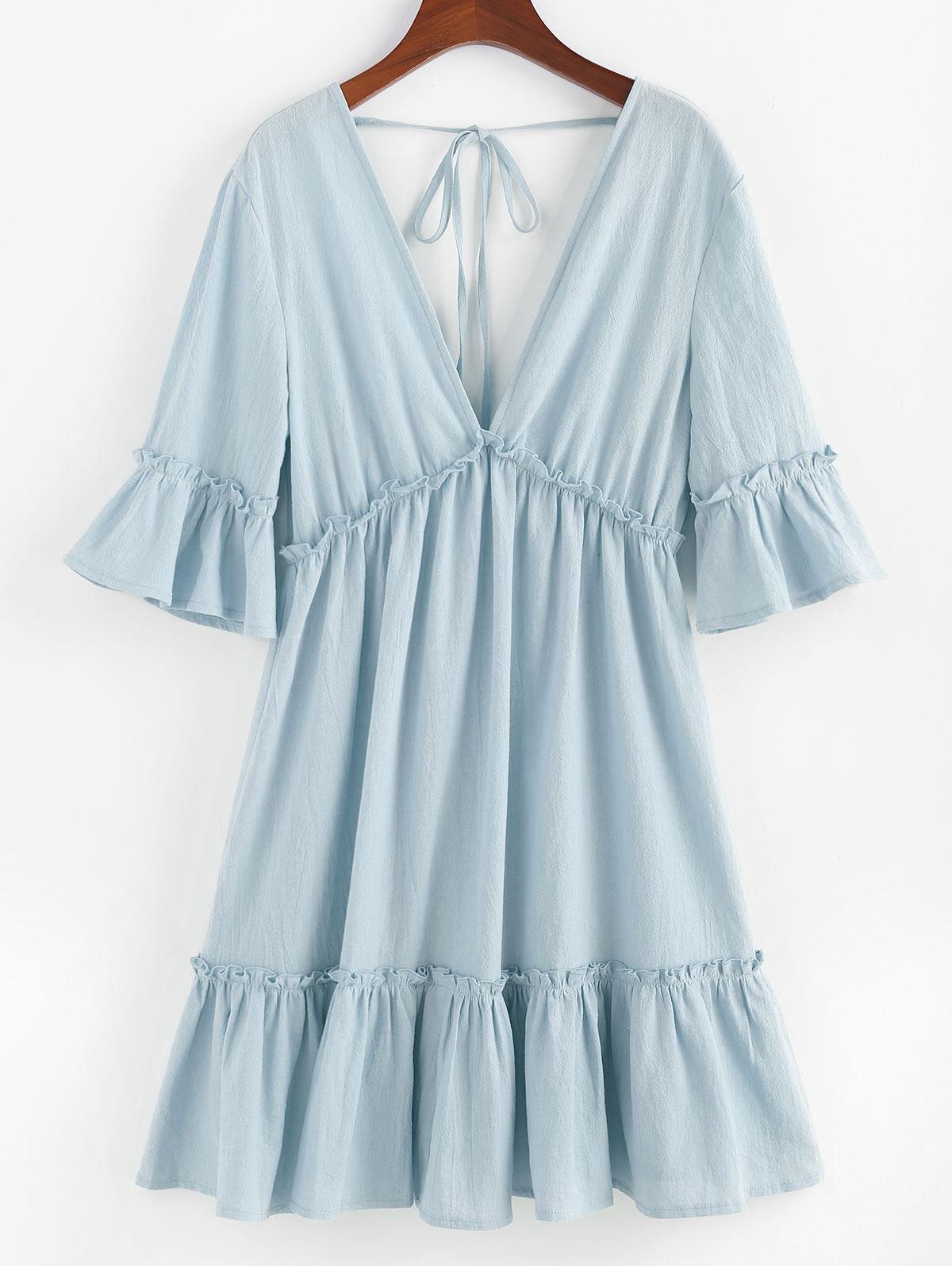 ZAFUL Bell Sleeve Ruffle Plunging Dress