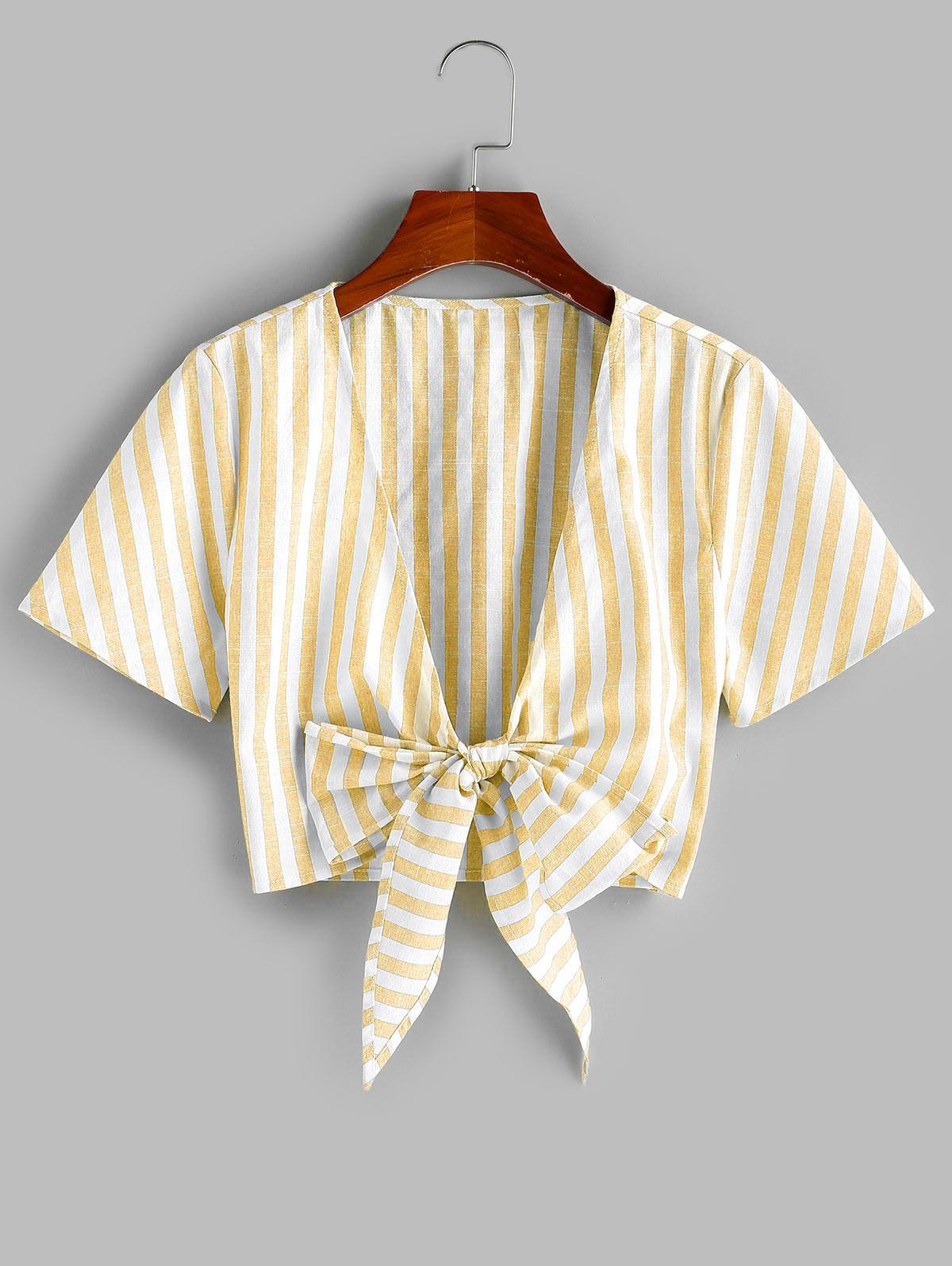 ZAFUL Tie Knot Stripe Cropped Blouse