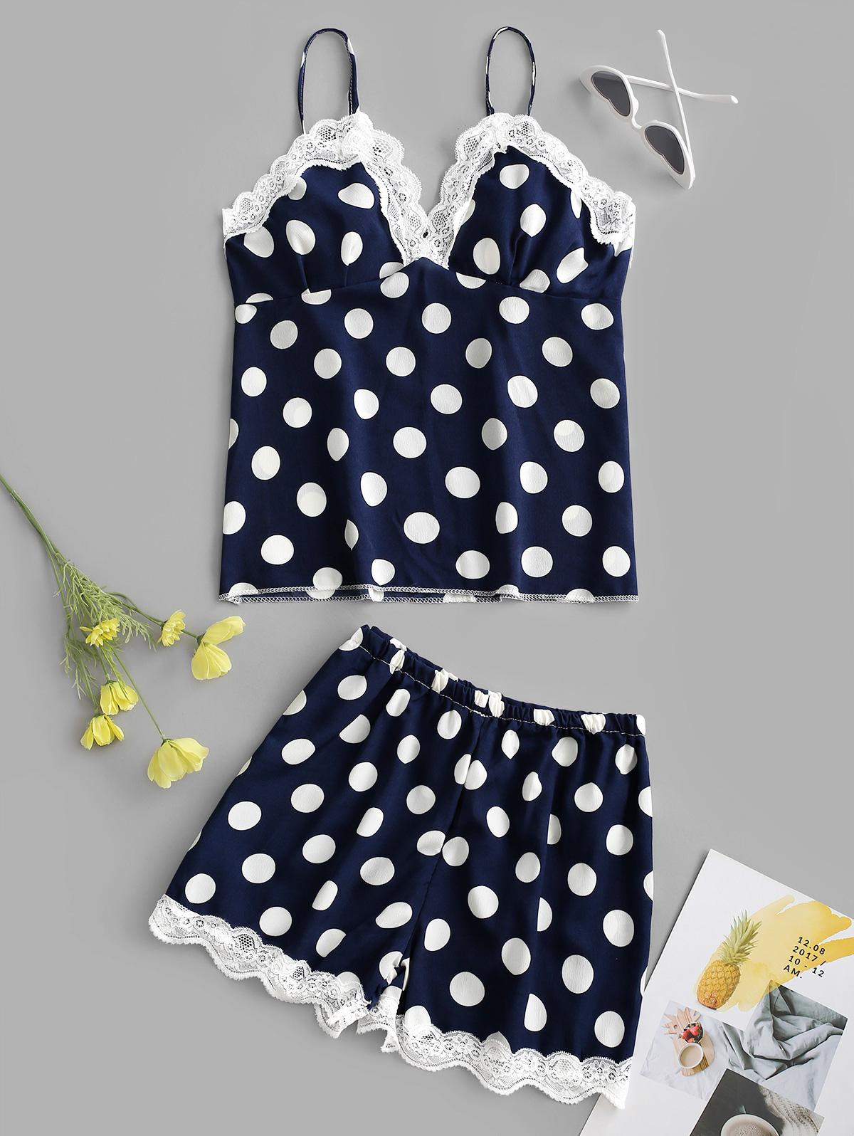 Lace Insert Polka Dot Padded Pajama Shorts Set