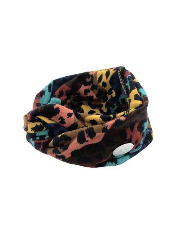 Leopard Elastic Mask Hanging Button Sports Headband
