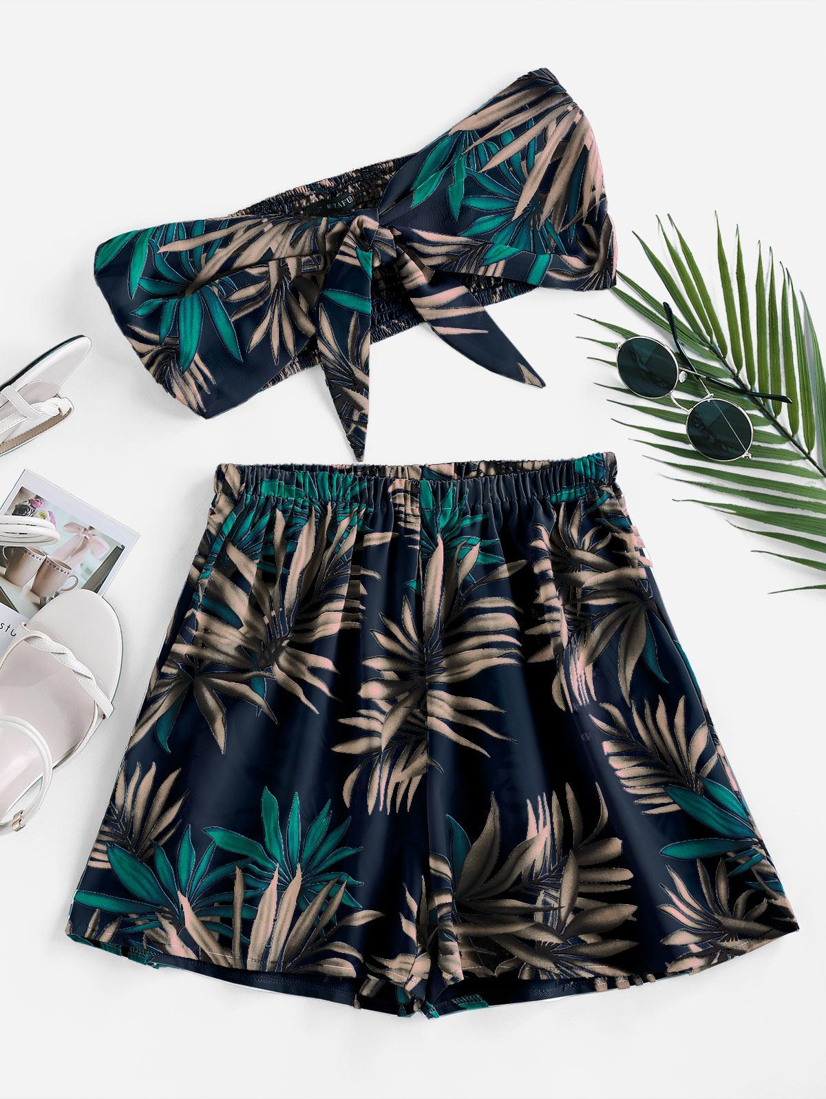 ZAFUL Palm Print Strapless Tie Front Two Piece Set
