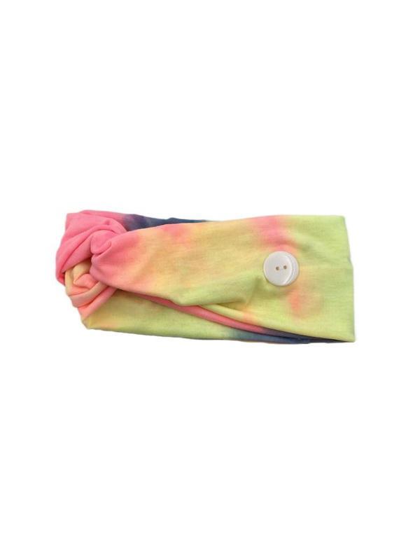 Cross Elastic Button Watercolor Headband