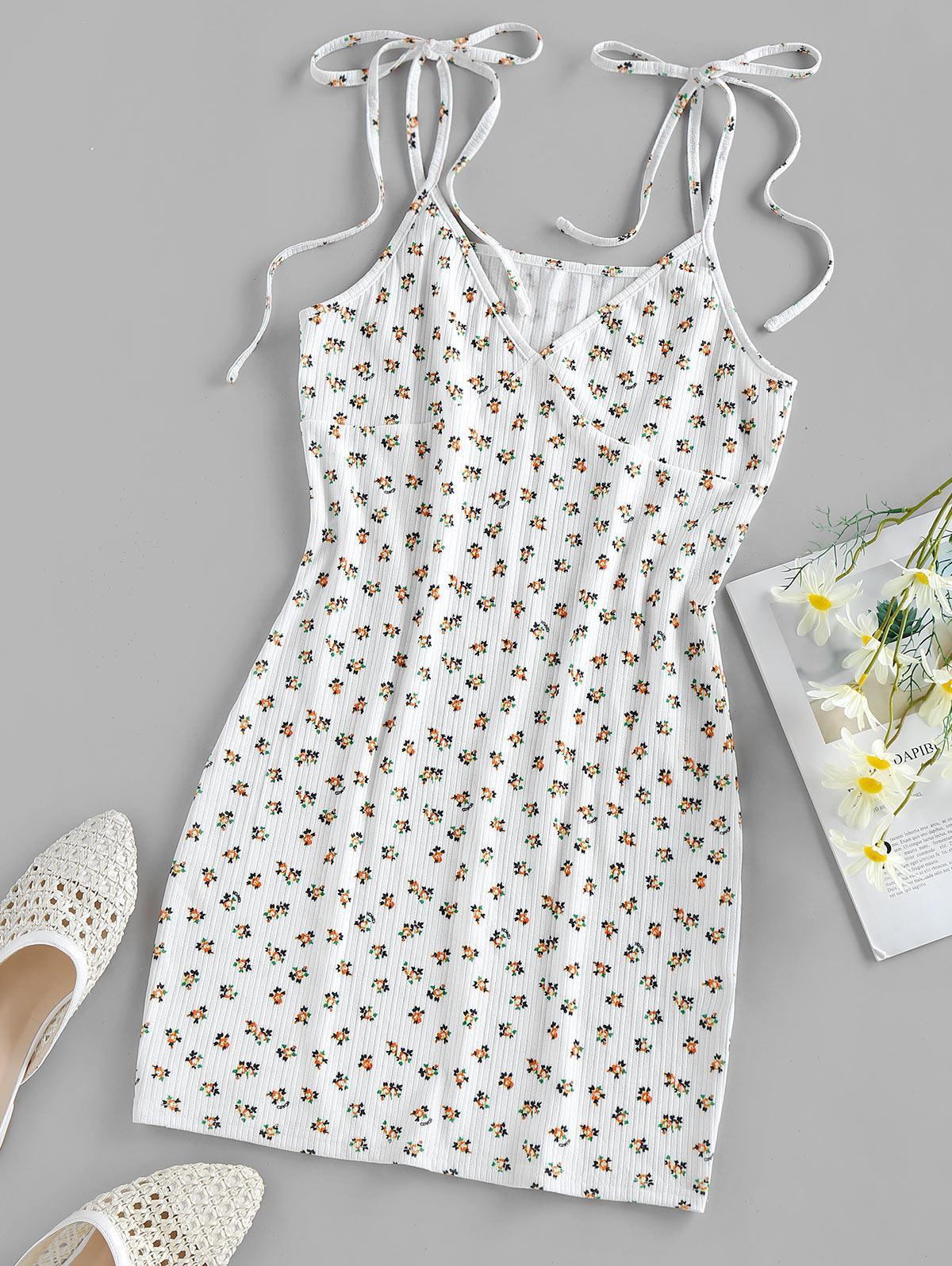 ZAFUL Ditsy Print Tie Shoulder Mini Bodycon Dress