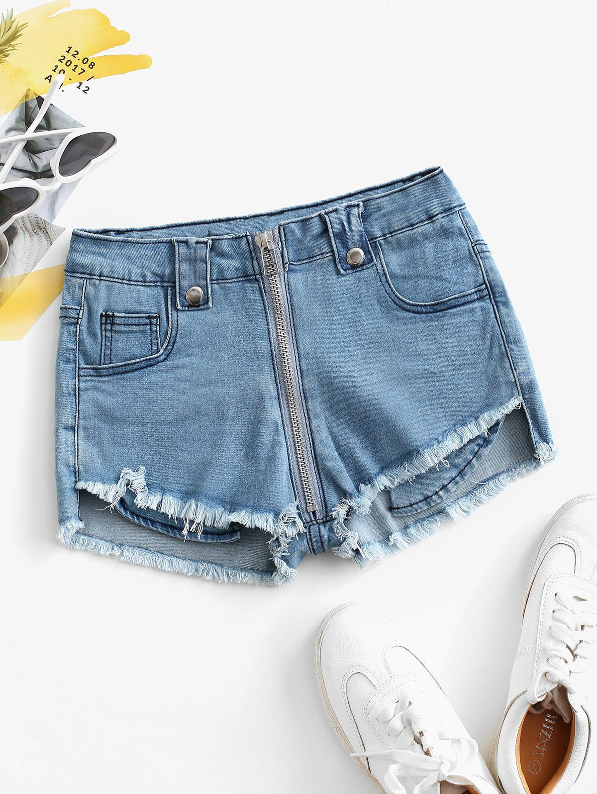 Front Zip Frayed Hem Denim Micro Shorts