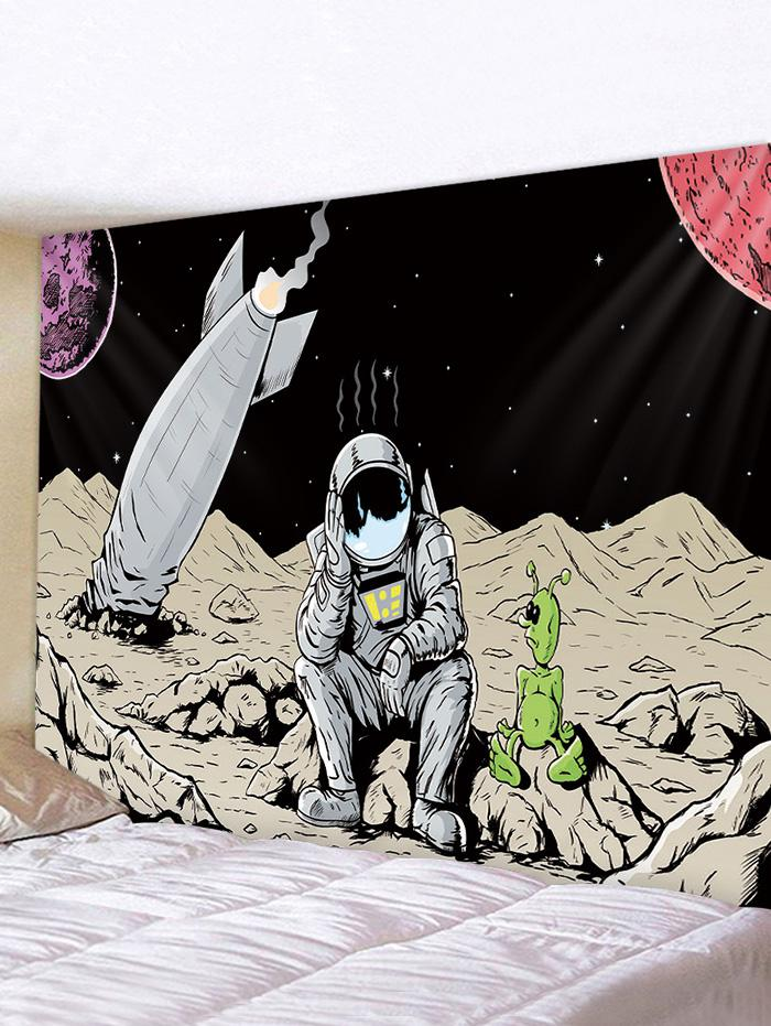 Outer Space Astronaut Rocket Print Decorative Wall Tapestry