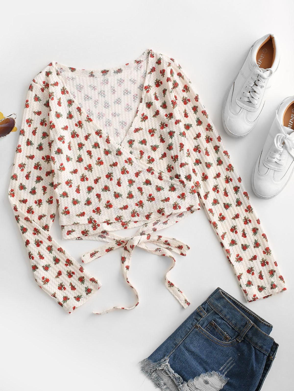 Floral Long Sleeve Wrap Blouse