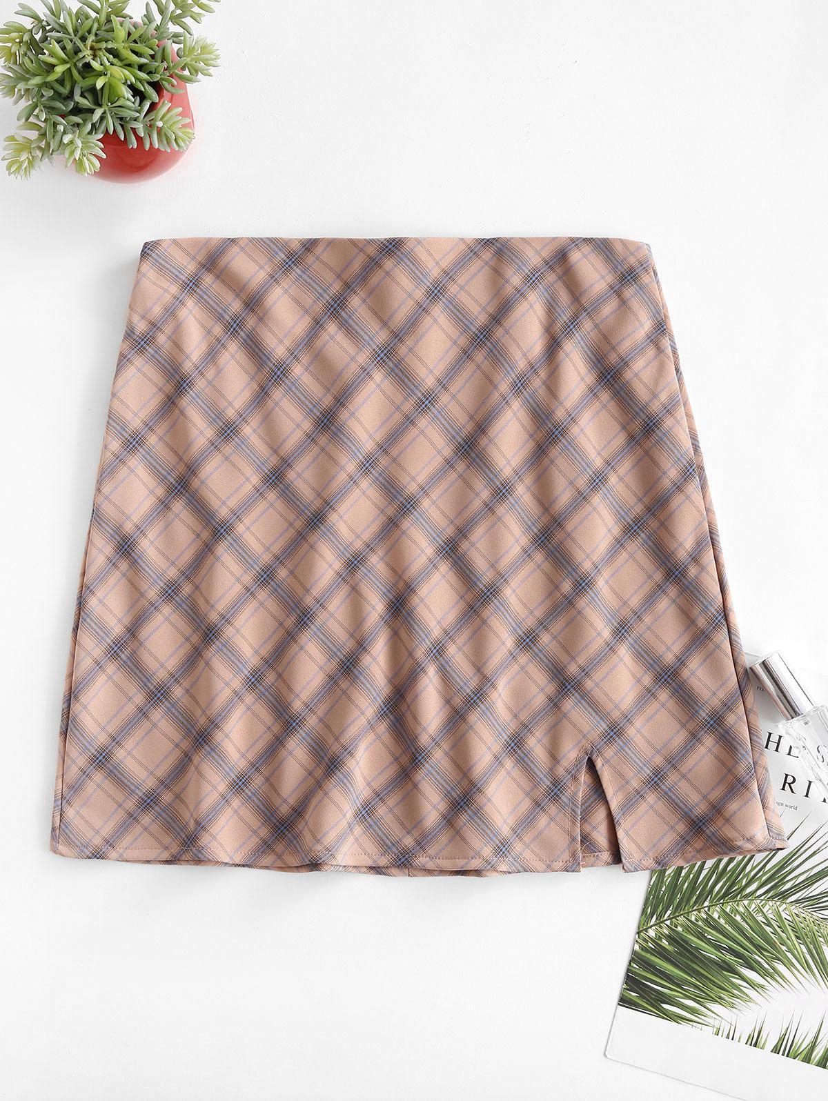 Plaid Slit A Line Skirt