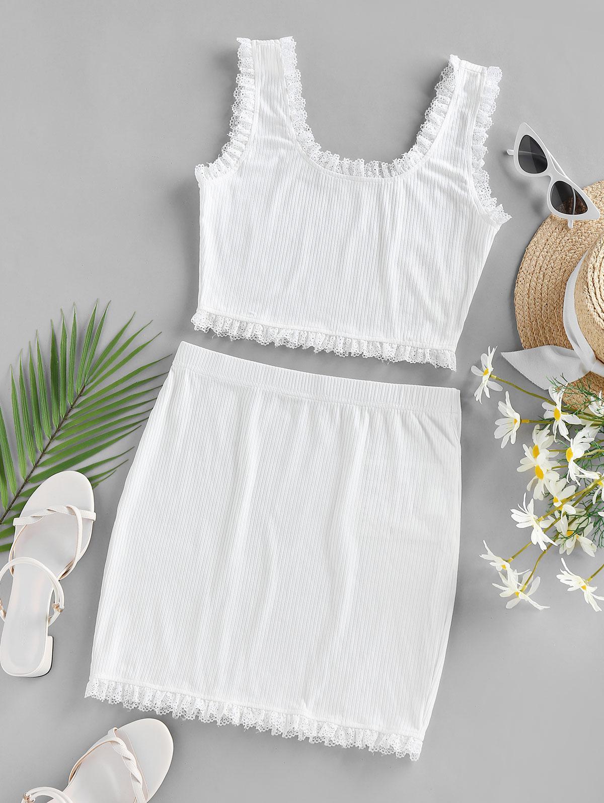 ZAFUL Lace Trim Ribbed Two Piece Mini Dress