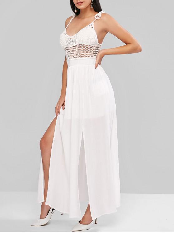 outfit ZAFUL Crochet Panel Backless Slit Maxi Dress - WHITE M