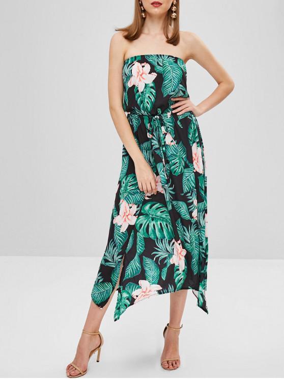 new Flower Palm Bandeau Slit Dress - BLACK S